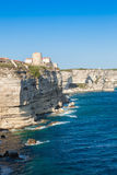 View of Bonifacio old town built on top of cliff rocks Corsica Royalty Free Stock Photos