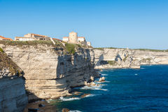 View of Bonifacio old town built on top of cliff rocks Corsica Stock Photos