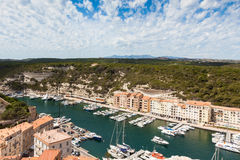 A view of Bonifacio port and old town, Corsica island, France Stock Photo