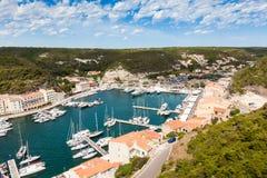 A view of Bonifacio port and old town, Corsica island, France Stock Photos