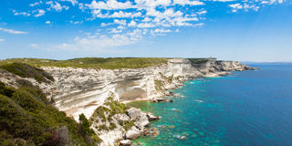 View of Bonifacio wild coast cliff rocks, Corsica island France Stock Photography
