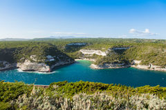 View of Bonifacio wild coast cliff rocks, Corsica island France Royalty Free Stock Images