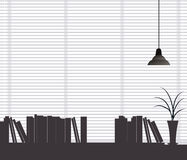 The view of bookshelf. In the office stock illustration