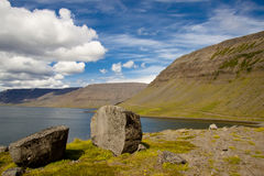 View on Borgarfjordur and Dynjandisvogur. Royalty Free Stock Images