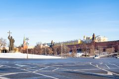 View of Borovitskaya Square with Monument. MOSCOW, RUSSIA - JANUARY 25, 2019: view of Borovitskaya Square with Monument to Vladimir the Great near Kremlin in royalty free stock images