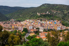 View of Bosa and Serravalle castle - Oristano, Sardinia (Sardegna), Italy (May 7, 2014). View of colorful houses of Bosa and Serravalle castle - Oristano Stock Photography