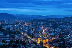 View of the Bosnian city of Sarajevo. At night Stock Images