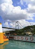 View of the Bosphorus Bridge from boat,Istanbul,Turkey. Stock Image