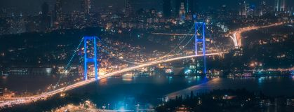 View of Bosphorus bridge at night Istanbul. Panoramic view of Bosphorus bridge at night Istanbul, Turkey stock images