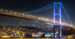 View of Bosphorus bridge at night Istanbul. Turkey Stock Images