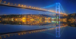 View of Bosphorus bridge at night Istanbul Royalty Free Stock Images