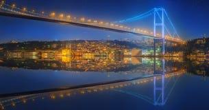 View of Bosphorus bridge at night Istanbul Royalty Free Stock Images