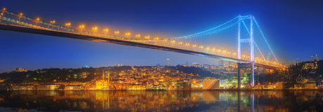 View of Bosphorus bridge at night Istanbul Royalty Free Stock Photo