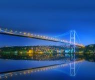 View of Bosphorus bridge at night Istanbul Stock Photos