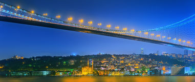 View of Bosphorus bridge at night Istanbul Stock Photo