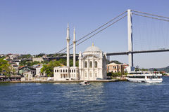 View of the Bosphorus bridge and Ortakoy mosque Stock Photo