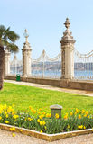View at Bosphorus through fence near Dolmabahce Palace Royalty Free Stock Images