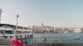 View of Bosphorus and galata tower. June 2018, Istanbul stock video footage