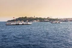 View of bosphorus with hagia sophia, blue mosque and topkapi palace from sea Royalty Free Stock Photo