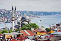 View of the Bosphorus and Istanbul. View of the Bosphorus and districts Eminonu and Beyoglu in Istanbul, Turkey royalty free stock photo