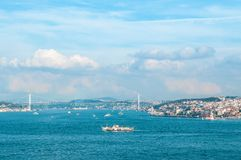 View of Bosphorus strait and Bosphorus bridge, Istanbul, Turkey stock photo