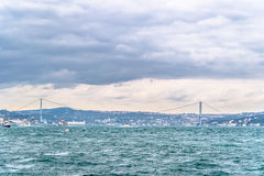 View on Bosphorus Strait and Bridge Royalty Free Stock Images