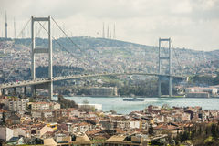 View of Bosphorus suspension bridge in Istanbul Royalty Free Stock Photos