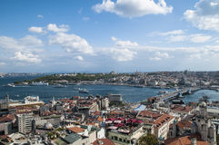 View of the Bosporus and galata bridge Istanbul with ship Stock Image