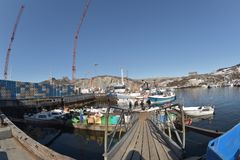 View of the bost harbour in Greenland Stock Image