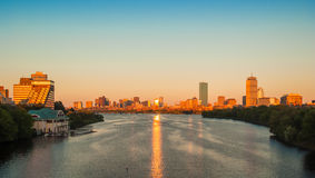 View of Boston, Cambridge, and the Charles River. View of Boston, Cambridge, Harvard Boathouse, Charles River Stock Photo