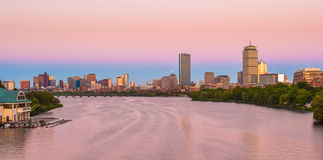 View of Boston, Cambridge, and the Charles River. View of Boston, Cambridge, Harvard Boathouse, Charles River Royalty Free Stock Photos