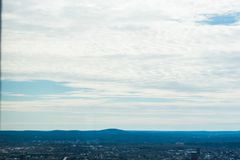 A view of Boston skyline with awesome clouds. With the mountains in the background royalty free stock photos