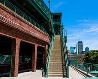 View of Boston Skyline from inside Fenway Park. Two private canoes are tethered in Martha's Vineyard, MA stock photos