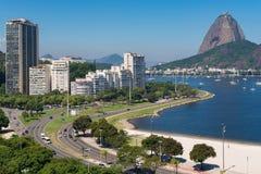 View of Botafogo Beach and Sugarloaf Mountain. View of Botafogo Beach With the Sugarloaf Mountain in the Horizon, in Rio de Janeiro, Brazil stock image