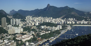 View of Botafogo district and Corcovado hill, Rio de Janeiro, Br. View of the Botafogo district and bay as seen from the top of the Pao de Açucar (Sugar Loaf) Stock Photography