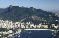 View of Botafogo district and Corcovado hill, Rio de Janeiro, Br Royalty Free Stock Photo