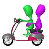 View both puppies ride on pink scooter Royalty Free Stock Photos
