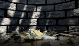 Coin Hitting Water Splash Stock Photography