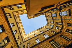 The view from the bottom at the courtyard Wroclaw, Stock Photo