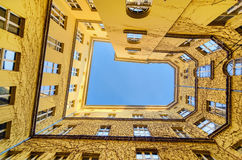 The view from the bottom at the courtyard in Wroclaw, Poland, Eu Royalty Free Stock Images