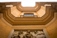 View from the bottom of the facade of the old building in Warsaw, Poland Royalty Free Stock Photos
