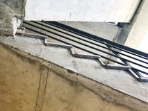 Construction of concrete stairs under construction works. View from the bottom to the top. View from the bottom to the top. Construction of concrete stairs stock image