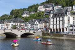 View at Bouillon with pedalos in river Semois, Belgium Royalty Free Stock Image