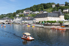 View at Bouillon with pedalos in river Semois, Belgium Stock Image