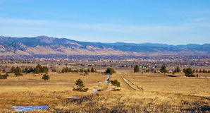 View of Boulder, Colorado. Morning view of Boulder, Colorado, at the edge of the Rocky Mountains, from the south Stock Photos