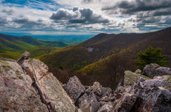 View from the boulder-covered summit of Blackrock in Shenandoah National Park Royalty Free Stock Photography