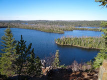 View of Boundary Waters Lakes. View of lake in the Boundary Waters Canoe Area from Caribou Rock stock photography