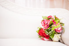 Bouquet of flower on sofa Royalty Free Stock Photo