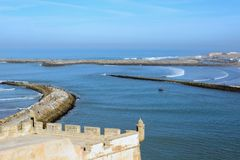 View of the Bouregreg River mouth and Atlantic Ocean from the Kasbah of the Udayas in Rabat, M Royalty Free Stock Images