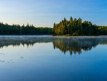 Bourne Pond, Green Mountains, Vermont Forest Lake, Blue Sky Reflection Stock Image